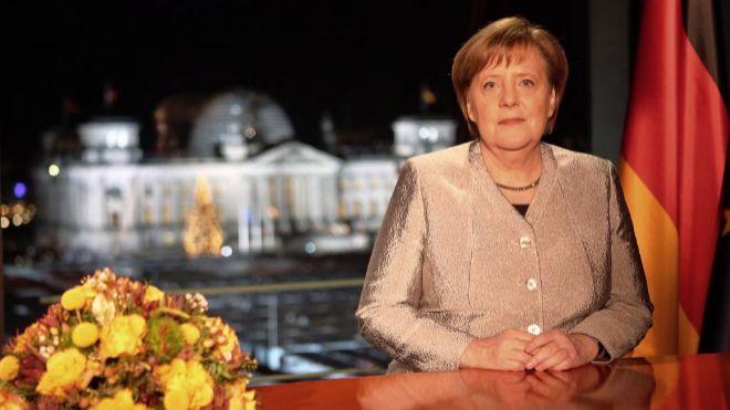 La canciller alemana, Angel Merkel, durante su discurso de año nuevo.