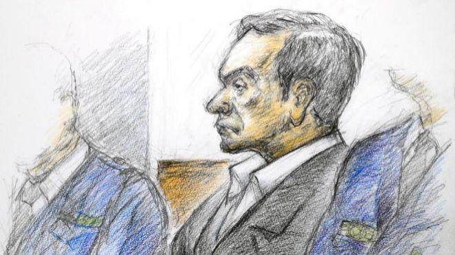 Ilustración que muestra al expresidente de Nissan Carlos Ghosn ante...