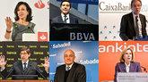 De izquierda a derecha, en la primera fila, Ana Botín, presidenta de...