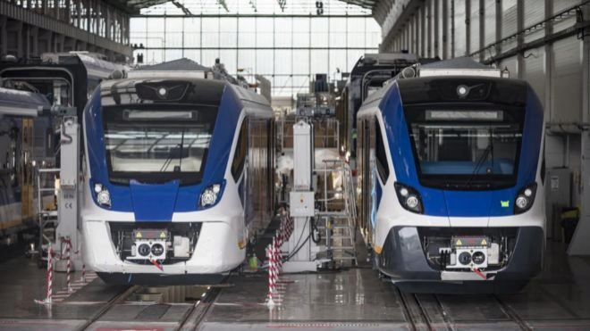 Cadena de montaje de trenes de CAF.