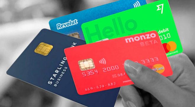 Tarjetas de los nuevos bancos digitales.