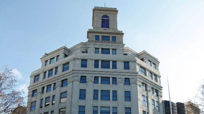 El edificio de Plaza Catalunya de Telefónica, inaugurado en 1928.