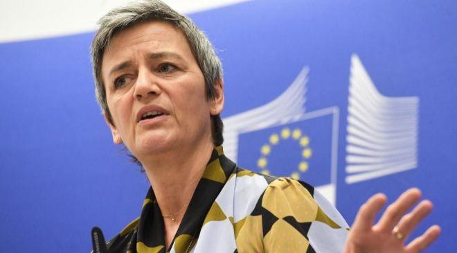 La comisaria europea de Competencia, Margrethe...