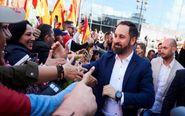 El líder de Vox Santiago Abascal, durante el acto que su partido...