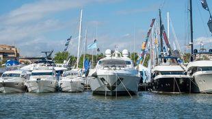 Barcos amarrados, durante el Palma International Boat Show.