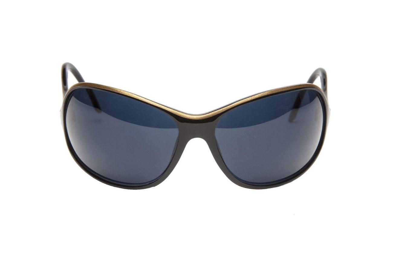 En acetato negro y laca Kintsugi de oro con lentes solares gris azul.