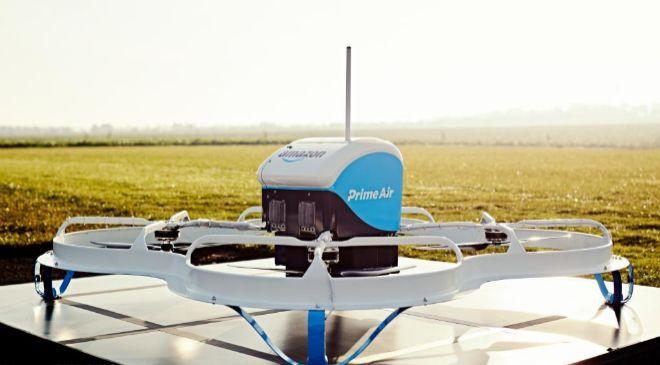 Prototipo de un dron de reparto de Amazon.