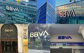 El nuevo logo de BBVA, en algunas de las principales sedes...