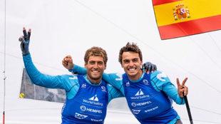 Nicolás Rodríguez y Jordi Xammar, celebrando su resultado en...