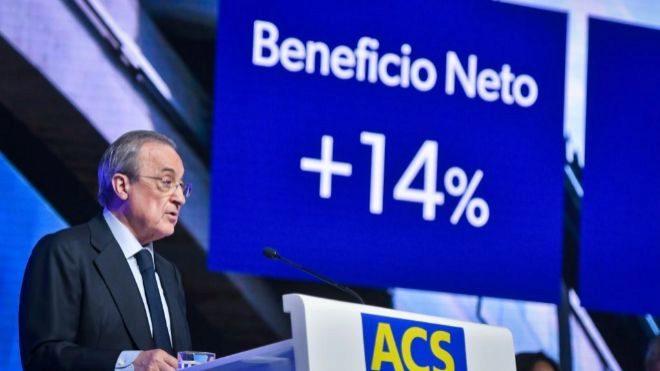 Florentino Pérez, presidente de ACS, durante la última junta de...