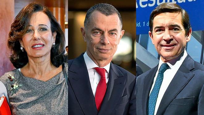 De izquierda a derecha: Ana Botín, presidenta de Banco Santander;...
