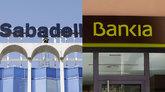 Sede de Sabadell en Alicante y oficina de Bankia en Madrid.