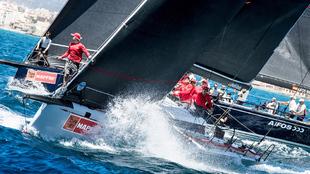 La flota Swan 50 disputando la regata de entrenamientos de la Copa del...