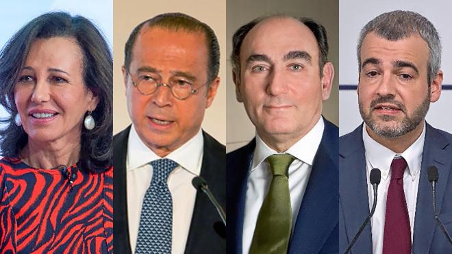 De izquierda a derecha: Ana Botín, presidenta de Santander; Antonio...