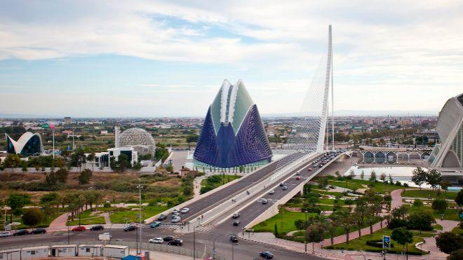 Vista de la Ciudad de las Artes y las Ciencas de Valencia. El...