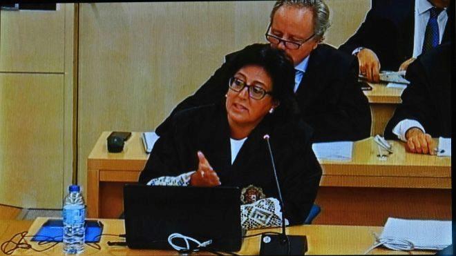Imagen del monitor de la sala de prensa de la Audiencia Nacional de la...