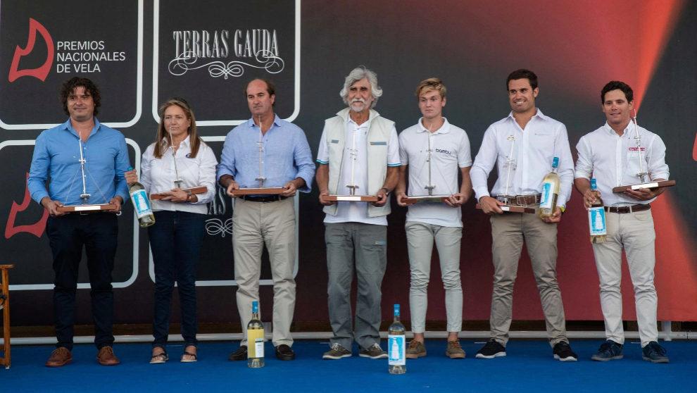 Los galardonados con los Premios Nacionales de Vela Terras Gauda,...