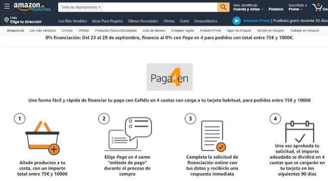 Amazon permite financiar las compras hasta 3.000 euros con nuevas opciones
