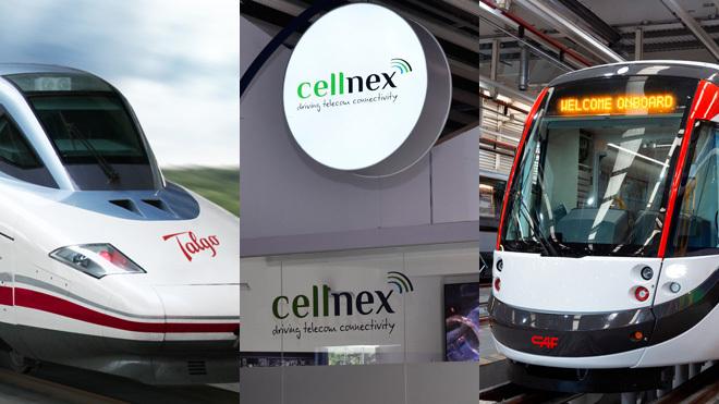 De izquierda a derecha, un tren Talgo 350, stand de Cellnex en el...