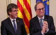 El expresidente catalán y líder de JxCat Carles Puigdemont y su...