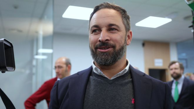 El presidente de Vox, Santiago Abascal, ayer en su sede de Madrid.