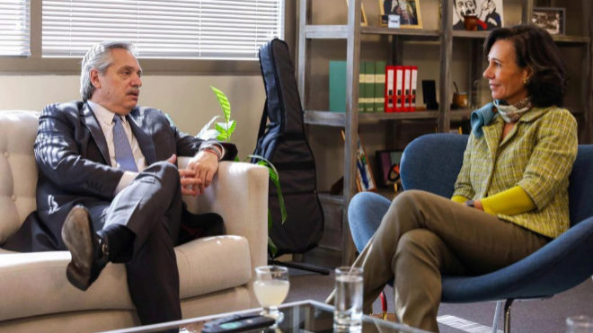 Créditos, exportación: A. Fernández se reunió con la titular del Banco Santander