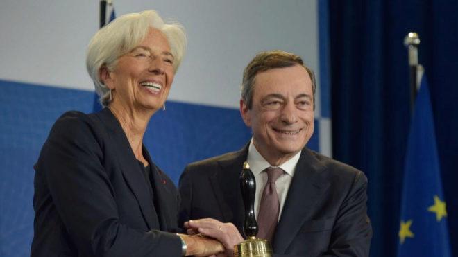 Christine Lagarde en su relevo a Mario Draghi el pasado 28 de octubre.