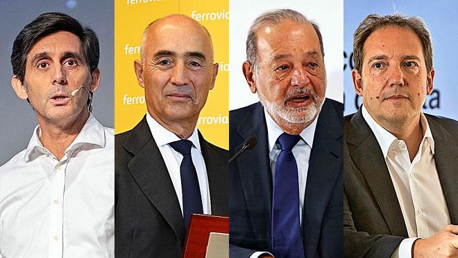 José María Álvarez-Pallete presidente de Telefónica; Rafael del...