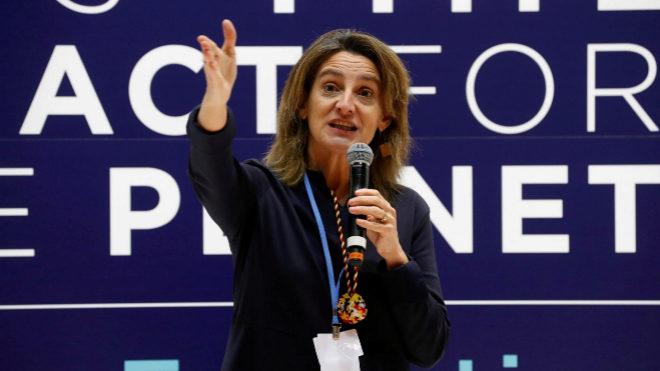 La ministra de Transición Ecológica en funciones, Teresa Ribera, ayer en la clausura de la COP25, en Madrid.