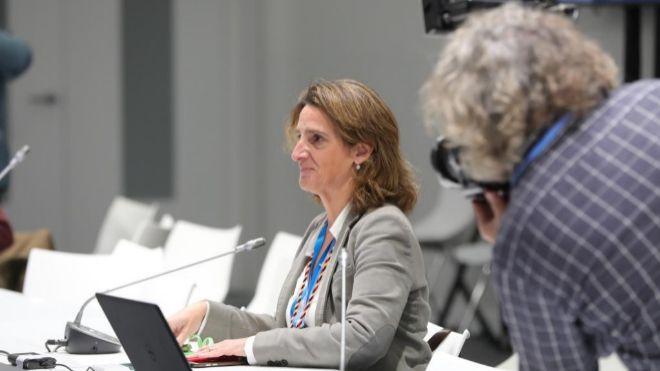 La ministra para la Transición Ecológica en funciones, Teresa Ribera, participa en una sesión informativa, durante la undécima jornada de la Cumbre del Clima el pasado12 diciembre.