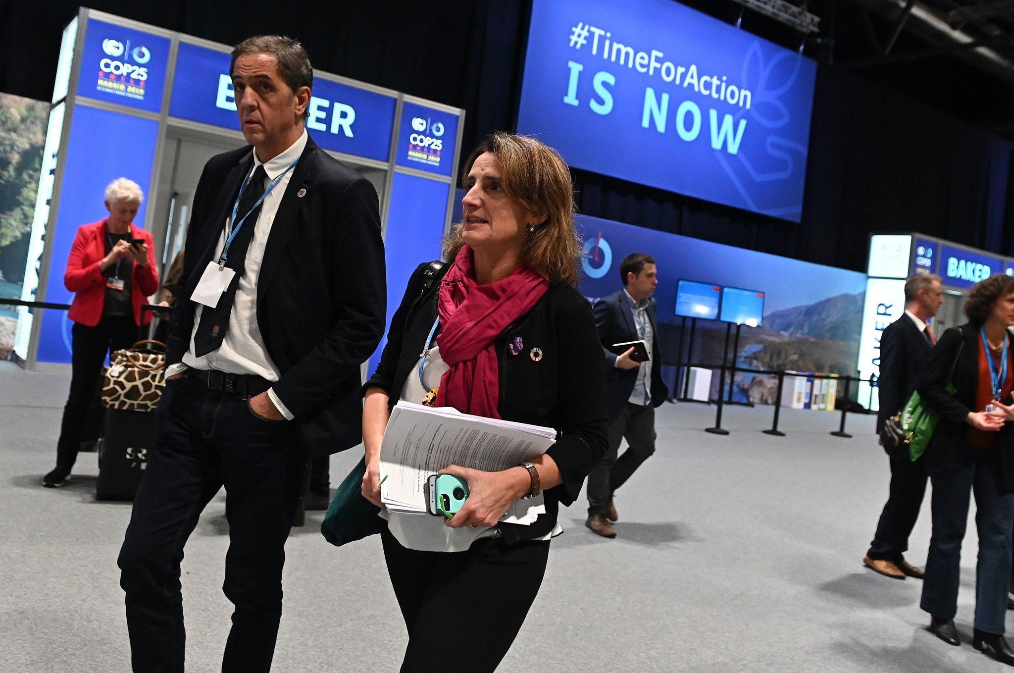 La ministra en funciones para la Transición Ecológica Teresa Ribera en la Cumbre del Clima