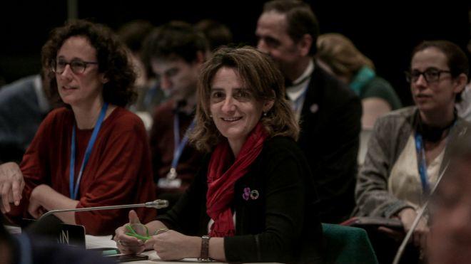 La ministra de Transición Ecológica, Teresa Ribera, en la revisión del preacuerdo en la Cumbre del Clima.