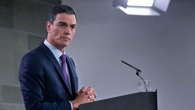 El presidente del Gobierno, Pedro Sánchez, durante una comparecencia...