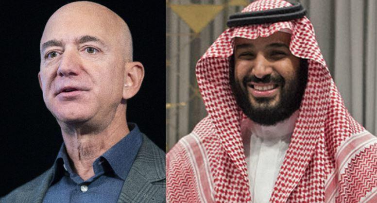 El fundador de Amazon, Jeff Bezos, y el príncipe saudí, Mohammed bin...
