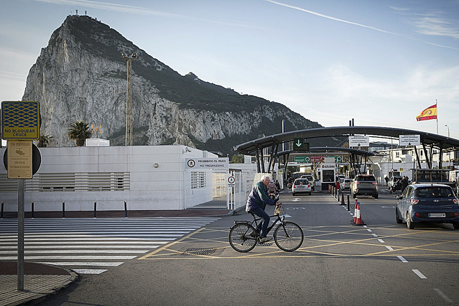 Imagen del Peñón de Gibraltar el pasado 31 de enero, su último día perteneciente a la Unión Europea.
