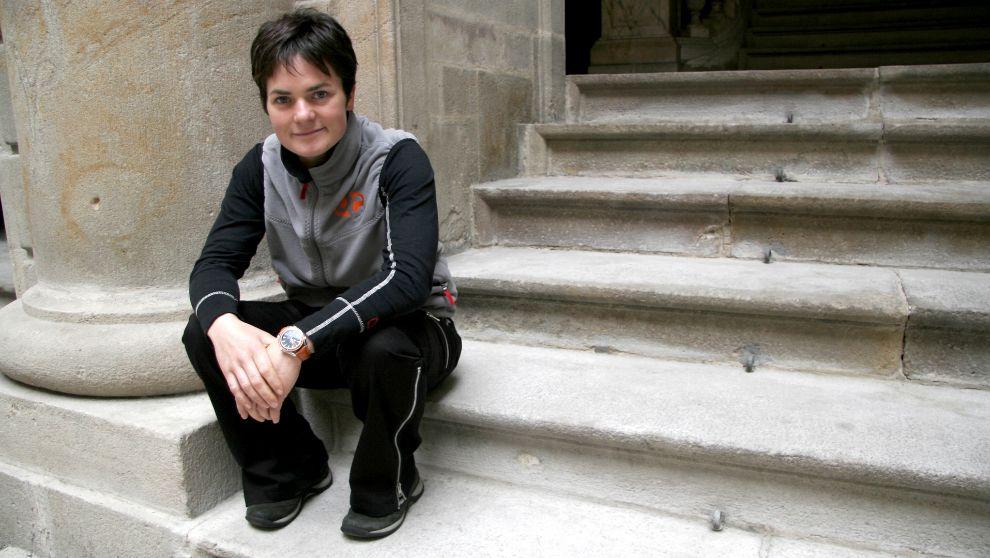 La regatista Ellen MacArthur, tras conseguir su récord en 2005,...