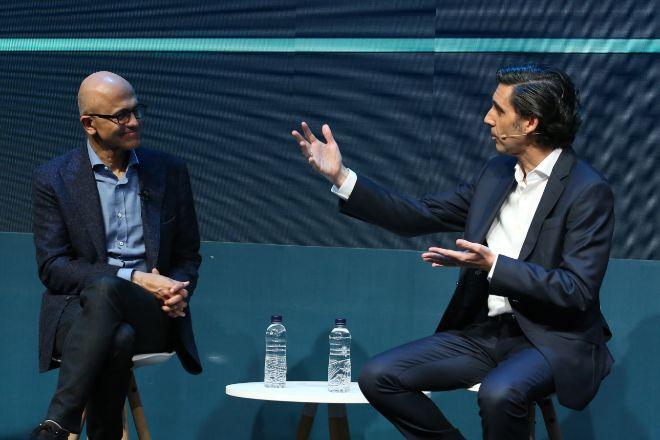 Satya Nadella, CEO de Microsoft y José María Álvarez -Pallete,...