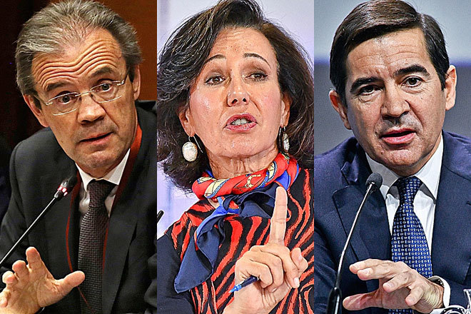De izquierda a derecha: Jordi Gual, presidente de CaixaBank; Ana Botín, presidenta de Santander; y Carlos Torres, presidente de BBVA.