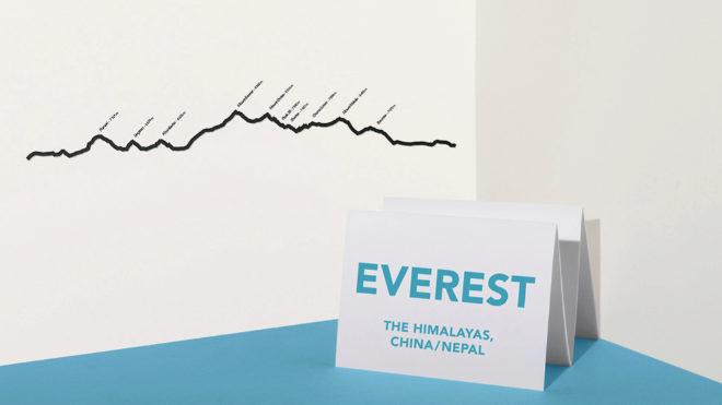 Una de las cumbres más simbólicas, el Everest, traducida a una perfil metálico para fijar a la pared.