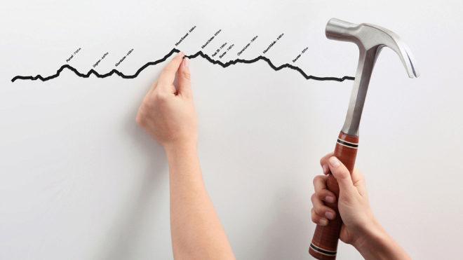 La topografía decorativa requiere tres clavos (incluidos) y un mínimo de maña con el martillo.