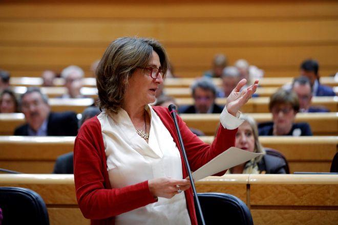 La vicepresidenta cuarta del Gobierno y ministra de Transición Ecológica, Teresa Ribera, hace unos días durante su intervención en la sesión de control al Gobierno en el Senado.