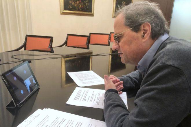 El president de la Generalitat, Quim Torra, durante la reunión...