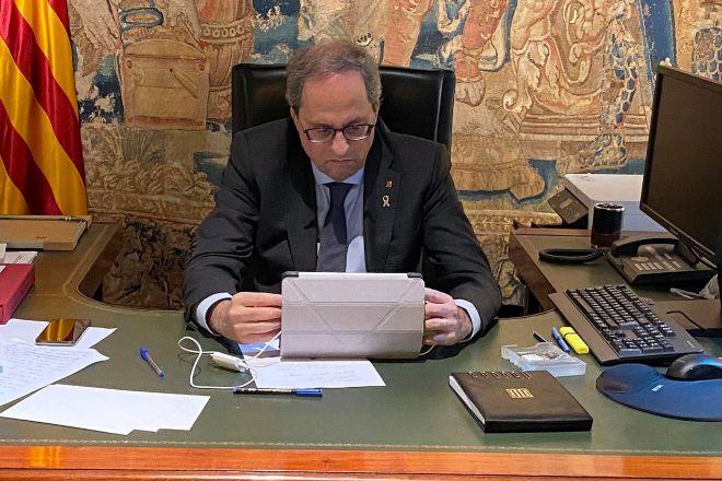 El presidente de la Generalitat, Quim Torra, durante los últimos...
