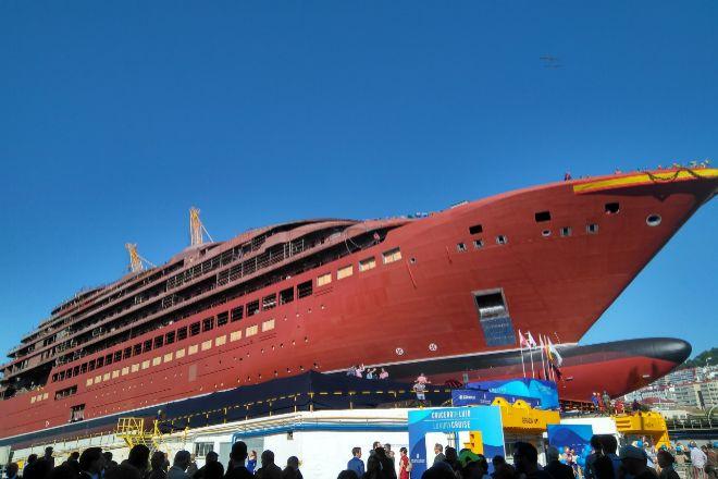 Botadura del buque Evrima en el astillero Barreras en octubre de 2018.