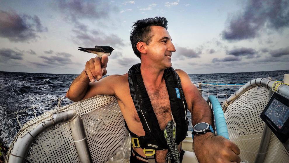 Jerónimo Santos, durante una etapa a bordo del 'Punta del...