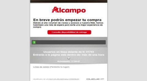 Cola virtual de Alcampo para hacer la compra online.