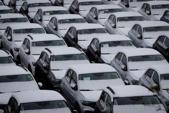 Explanada de la fábrica de Volkswagen Navarra.