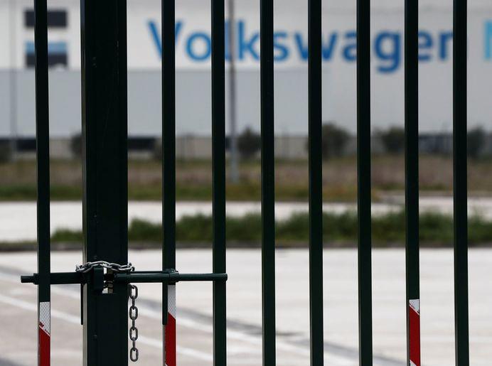 Exterior de la planta de Volkswagen Navarra en Landaben.