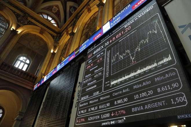 Marcador del Ibex 35 en la Bolsa de Madri