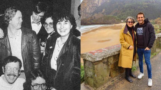 A la izq.: Parte del equipo de Apple que lanzó el primer Macintosh en 1984 con Steve Jobs y Joanna Hoffman (con gafas) en el centro de la imagen. A la dcha.: Xabi Uribe-Etxebarria, fundador y CEO de Sherpa.ai, con Hoffman, recién incorporada a la 'start up'.